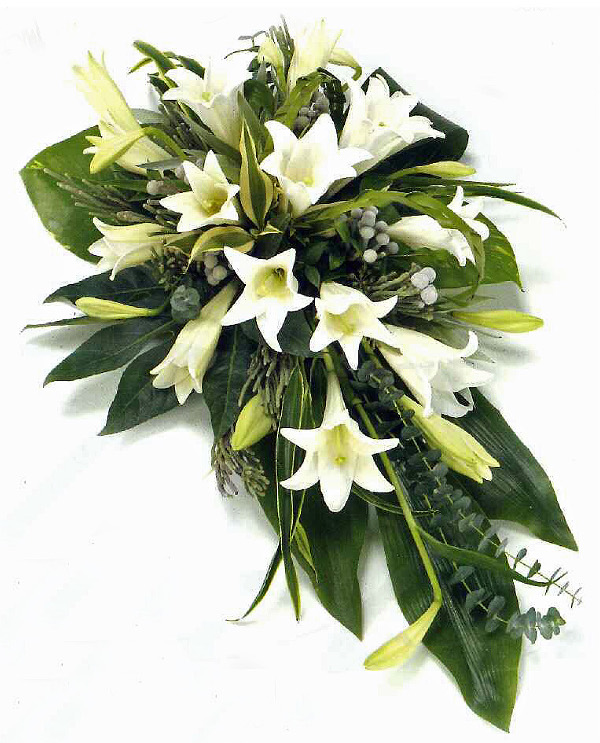 White lily single ended spray